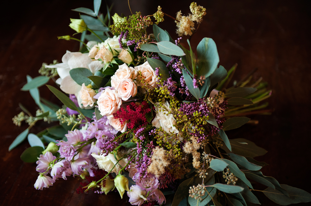 mixed loose wild bouquet garden roses eucalyptus