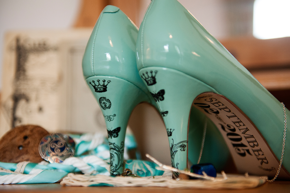 personalized blue wedding shoes