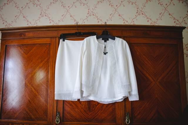 elegant white wedding suit