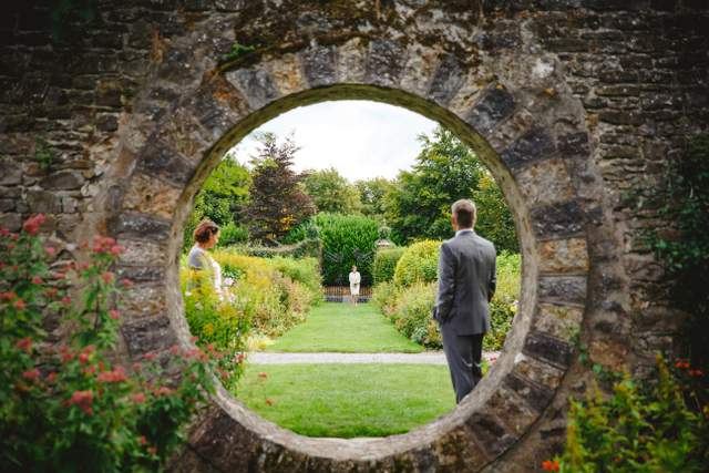 elope to Ireland, stone wall garden wedding