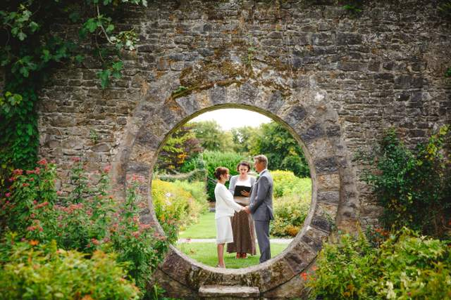Irish elopement, garden wedding ceremony