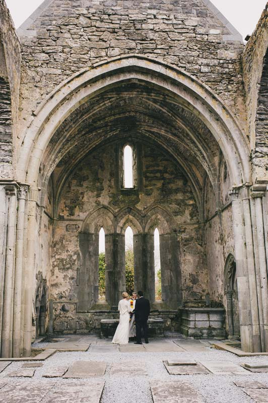 ancient historic abbey wedding eloping to Ireland