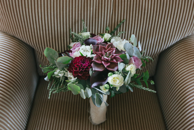 Plum white and eucalyptus bouquet Destination elopement wedding Ireland Irish Seaside Elopement
