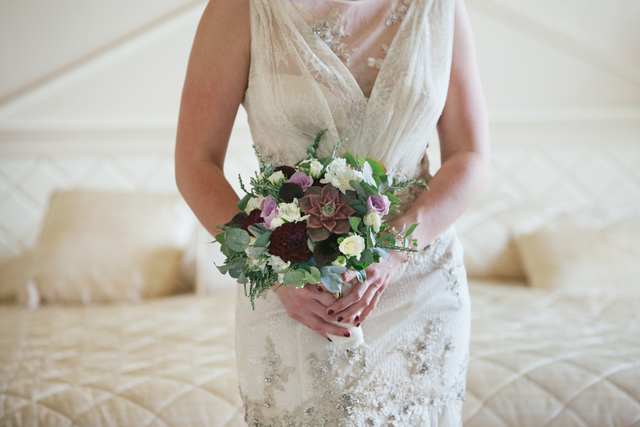 plum white and eucalyptus bouquet Destination elopement wedding Ireland