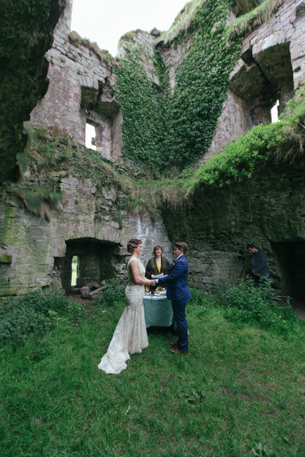 Irish Castle ruins elope Destination elopement wedding Ireland