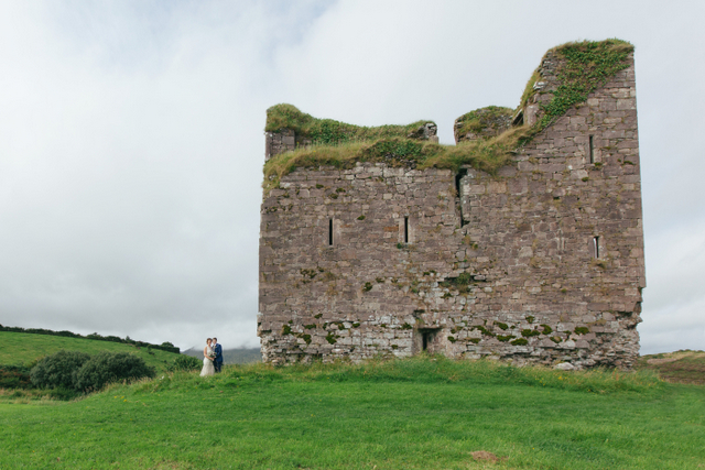 Irish castle seaside elope Destination elopement wedding Ireland