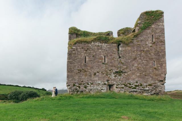 Irish castle seaside elope Destination elopement wedding Ireland