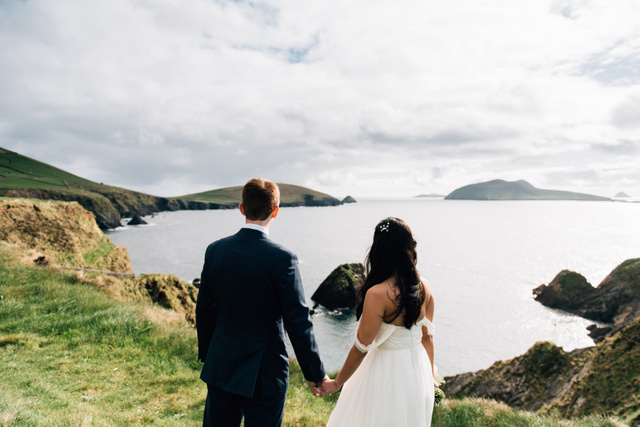 Ireland seaside cliff Castle elopement