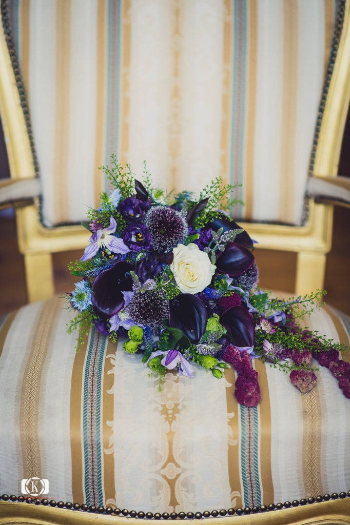 elegant dark purple and blue bouquet Victorian brides bouquet Elope to Ireland