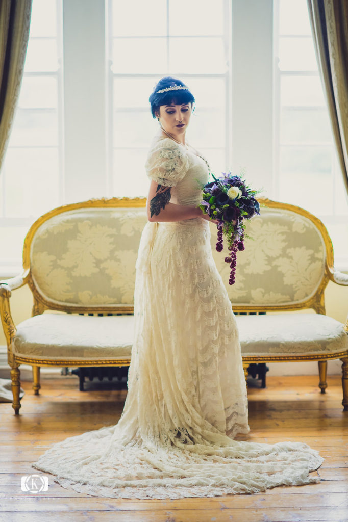 Victorian Gothic Style bride Elope to Ireland purple flowers