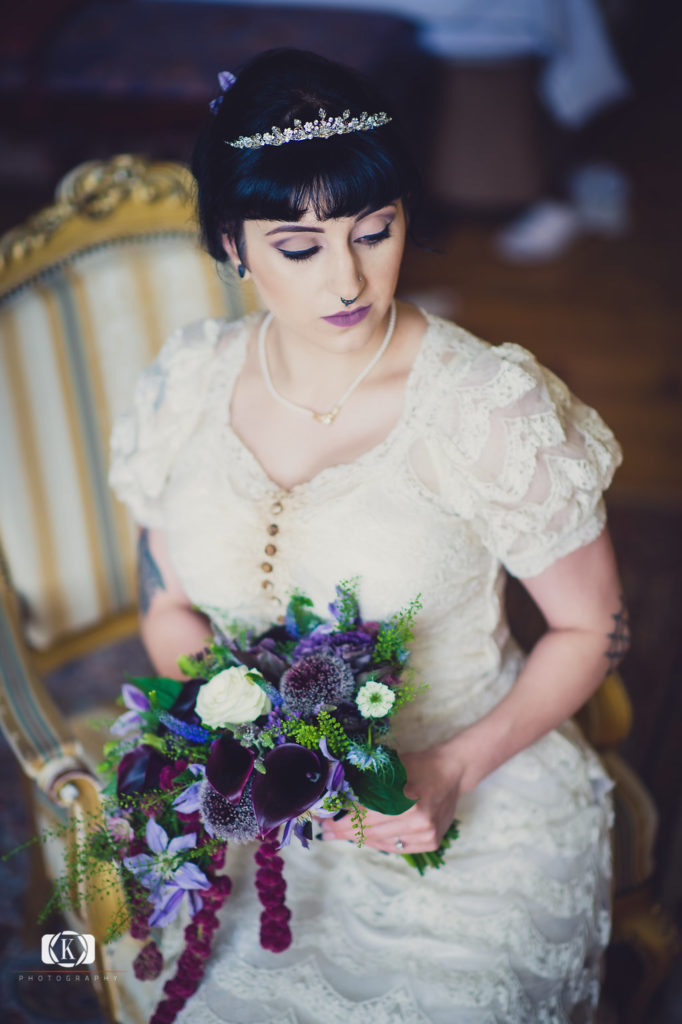 Victorian Gothic Style bride Elope to Ireland Castle purple flowers