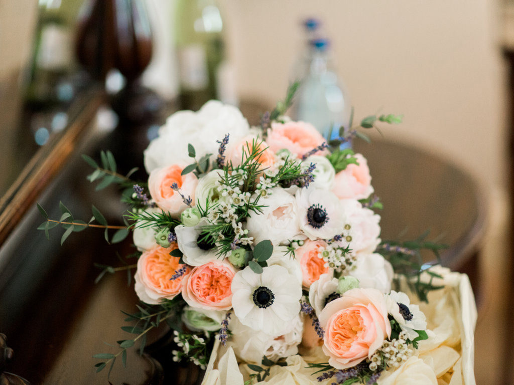 Soft pink and peach brides bouquet with Anenome Irish Manor House