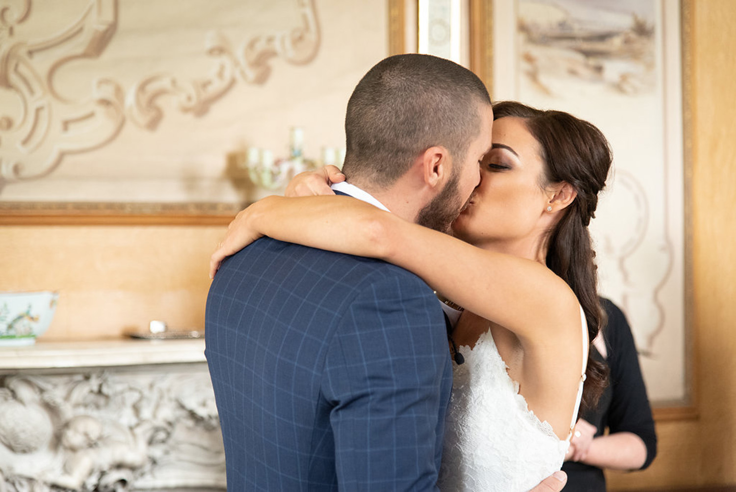 elope to ireland manor house elopement couple kissing after their ceremony