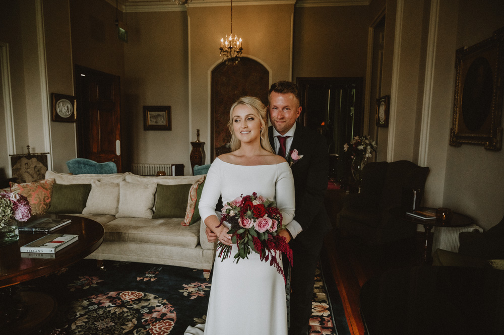 island Elopement groom behind bride first look